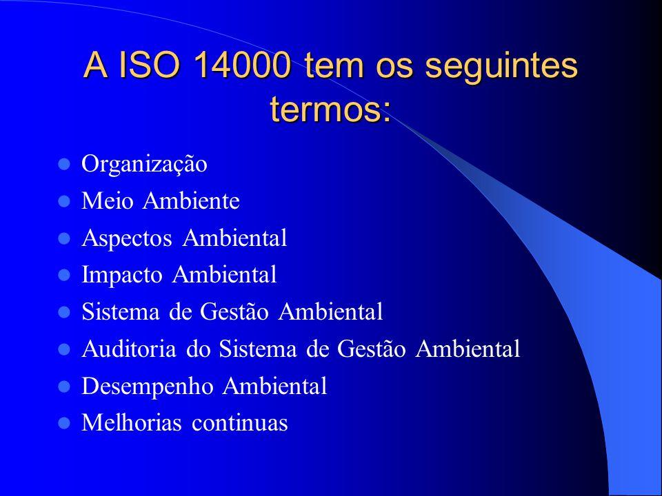 A ISO 14000 tem os seguintes termos: Organização Meio Ambiente Aspectos Ambiental Impacto Ambiental Sistema de Gestão Ambiental Auditoria do Sistema de Gestão Ambiental Desempenho Ambiental Melhorias continuas