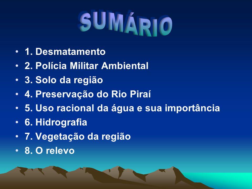 1.Desmatamento 2. Polícia Militar Ambiental 3. Solo da região 4.