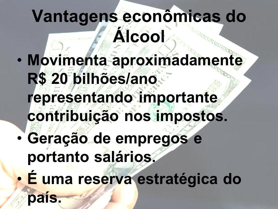 Vantagens econômicas do Álcool Movimenta aproximadamente R$ 20 bilhões/ano representando importante contribuição nos impostos. Geração de empregos e p