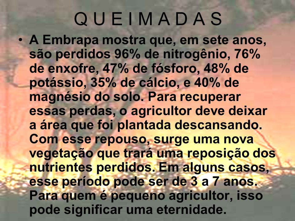 Q U E I M A D A S A Embrapa mostra que, em sete anos, são perdidos 96% de nitrogênio, 76% de enxofre, 47% de fósforo, 48% de potássio, 35% de cálcio,