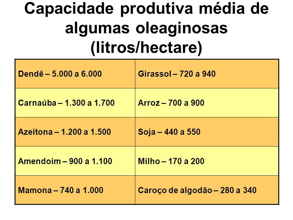 Capacidade produtiva média de algumas oleaginosas (litros/hectare) Dendê – 5.000 a 6.000Girassol – 720 a 940 Carnaúba – 1.300 a 1.700Arroz – 700 a 900