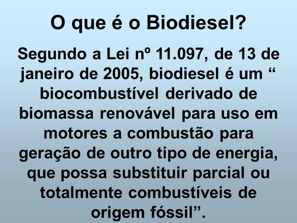 """O que é o Biodiesel? Segundo a Lei nº 11.097, de 13 de janeiro de 2005, biodiesel é um """" biocombustível derivado de biomassa renovável para uso em mot"""