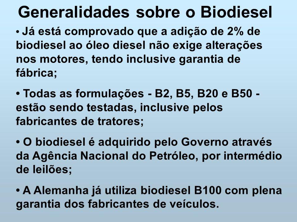 Generalidades sobre o Biodiesel Já está comprovado que a adição de 2% de biodiesel ao óleo diesel não exige alterações nos motores, tendo inclusive ga
