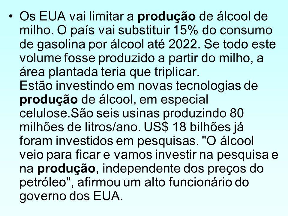 Os EUA vai limitar a produção de álcool de milho. O país vai substituir 15% do consumo de gasolina por álcool até 2022. Se todo este volume fosse prod