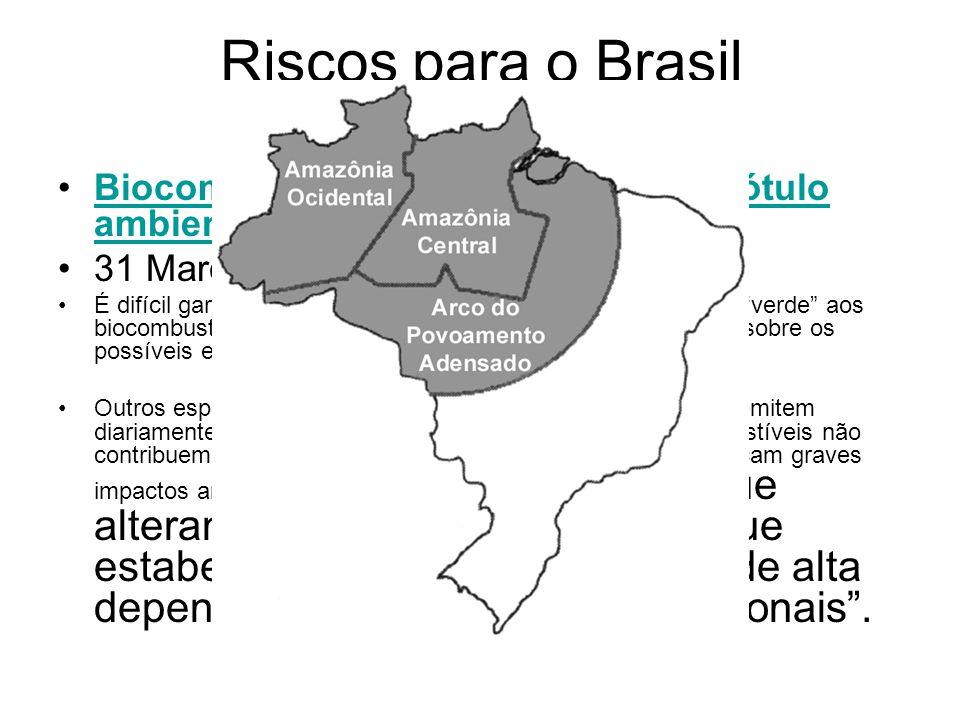 Riscos para o Brasil Biocombustíveis estão perdendo o rótulo ambiental, diz 'El País' 31 Março, 2008 É difícil garantir o rótulo de fonte de energia a