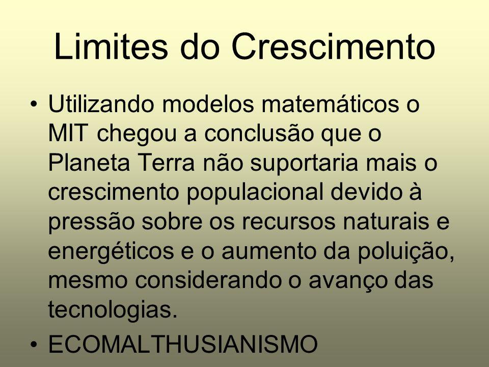Limites do Crescimento Utilizando modelos matemáticos o MIT chegou a conclusão que o Planeta Terra não suportaria mais o crescimento populacional devi