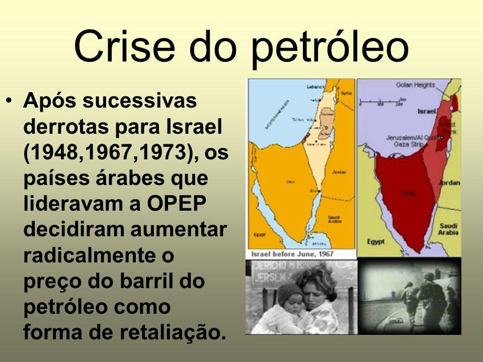 Crise do petróleo Após sucessivas derrotas para Israel (1948,1967,1973), os países árabes que lideravam a OPEP decidiram aumentar radicalmente o preço