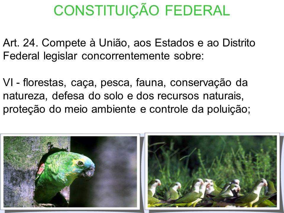 CONSTITUIÇÃO FEDERAL Art. 23. É competência comum da União, dos Estados, do Distrito Federal e dos Municípios: VI - proteger o meio ambiente e combate