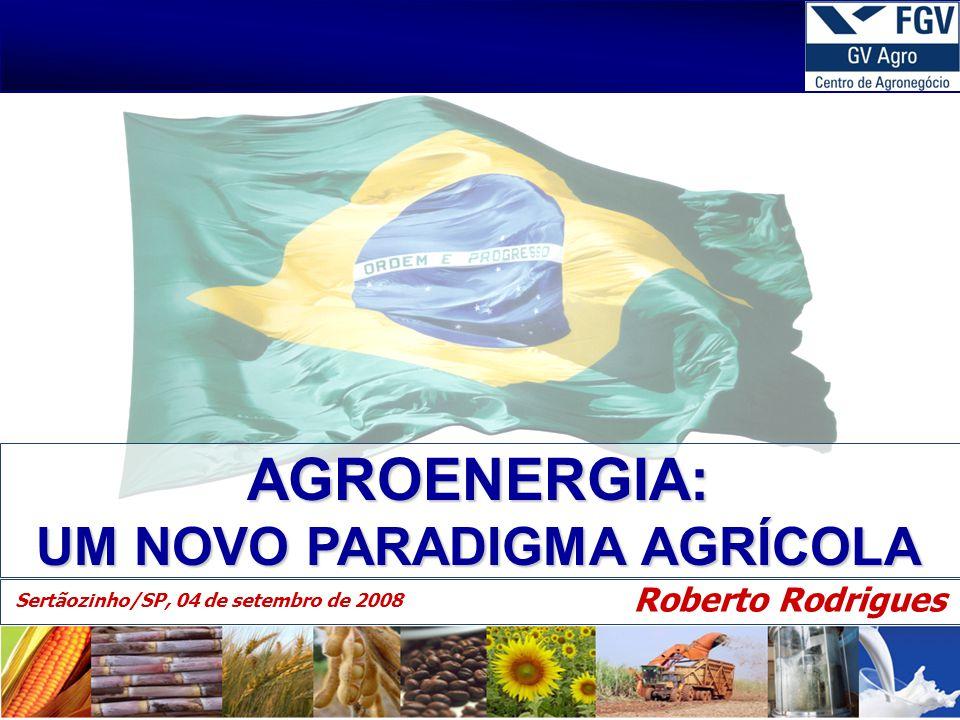 AGROENERGIA: UM NOVO PARADIGMA AGRÍCOLA Roberto Rodrigues Sertãozinho/SP, 04 de setembro de 2008