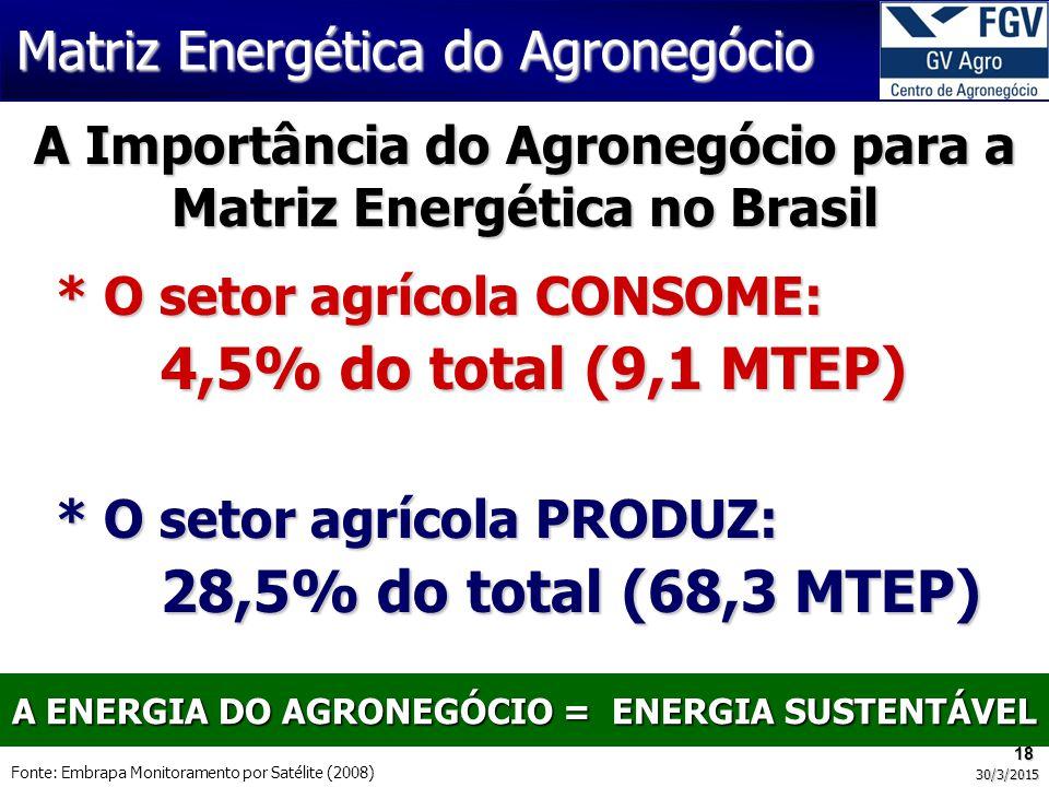 A ENERGIA DO AGRONEGÓCIO = ENERGIA SUSTENTÁVEL Matriz Energética do Agronegócio 18 30/3/2015 Fonte: Embrapa Monitoramento por Satélite (2008) A Importância do Agronegócio para a Matriz Energética no Brasil * O setor agrícola CONSOME: 4,5% do total (9,1 MTEP) * O setor agrícola PRODUZ: 28,5% do total (68,3 MTEP)
