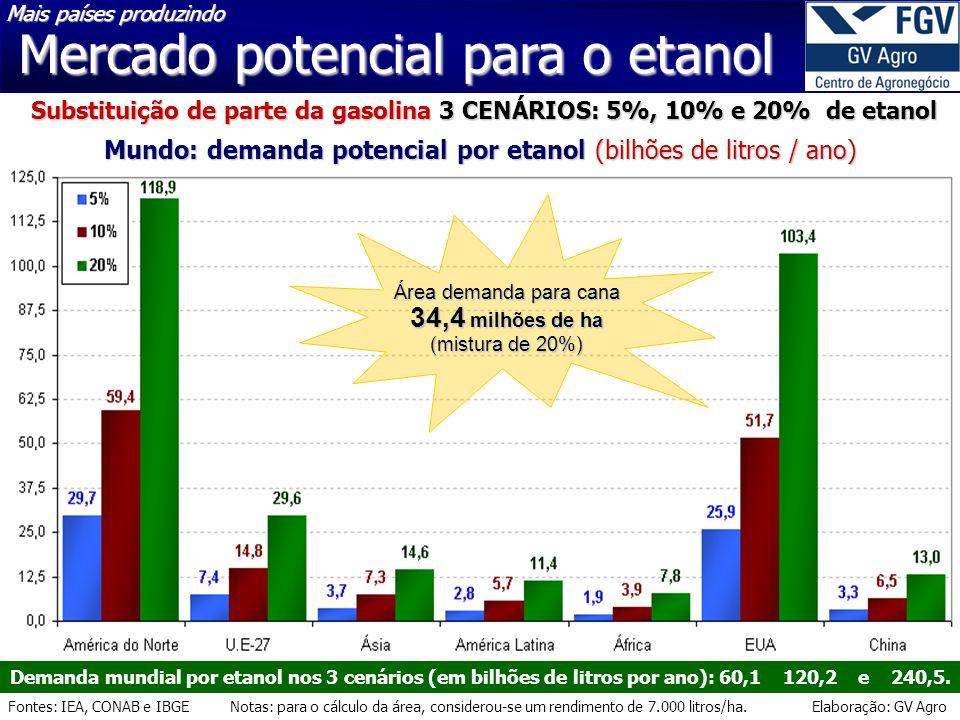 Fontes: IEA, CONAB e IBGE Notas: para o cálculo da área, considerou-se um rendimento de 7.000 litros/ha. Elaboração: GV Agro Mercado potencial para o