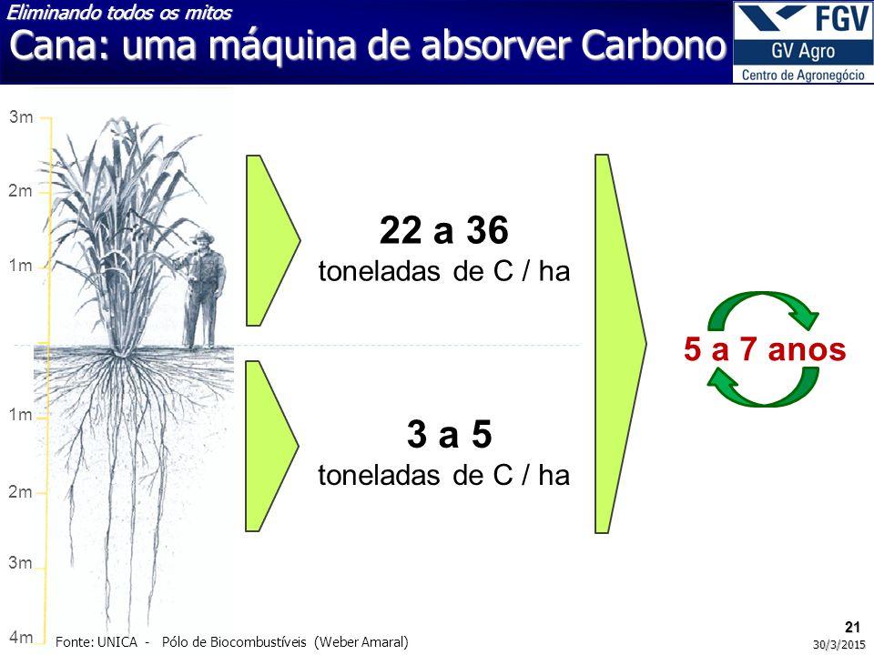 Cana: uma máquina de absorver Carbono 3m 2m 1m 2m 3m 4m 22 a 36 toneladas de C / ha 3 a 5 toneladas de C / ha 5 a 7 anos 21 30/3/2015 Fonte: UNICA - Pólo de Biocombustíveis (Weber Amaral) Eliminando todos os mitos