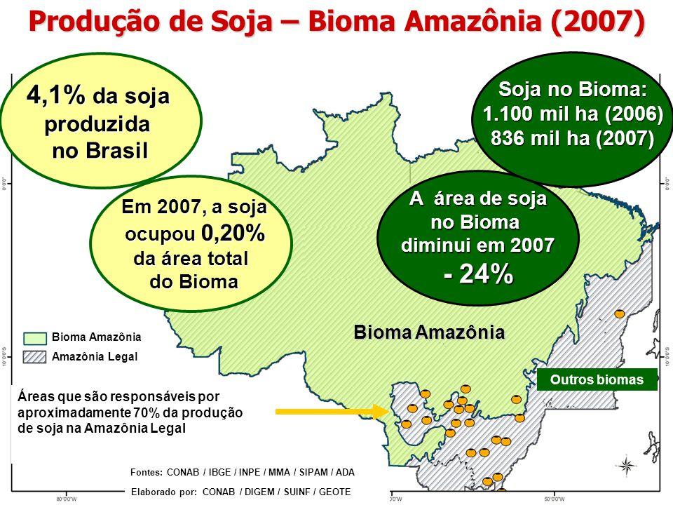 Bioma Amazônia Amazônia Legal Produção de Soja – Bioma Amazônia (2007) Bioma Amazônia Fontes: CONAB / IBGE / INPE / MMA / SIPAM / ADA Elaborado por: C