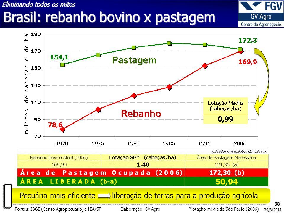 38 30/3/2015 Pecuária mais eficiente liberação de terras para a produção agrícola Fontes: IBGE (Censo Agropecuário) e IEA/SP Elaboração: GV Agro *lota