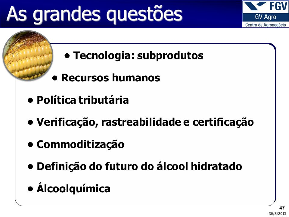 47 30/3/2015 As grandes questões Tecnologia: subprodutos Recursos humanos Política tributária Verificação, rastreabilidade e certificação Commoditização Definição do futuro do álcool hidratado Álcoolquímica