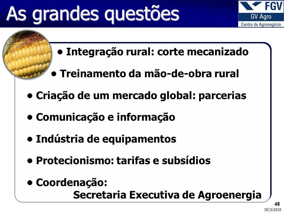 48 30/3/2015 As grandes questões Integração rural: corte mecanizado Treinamento da mão-de-obra rural Criação de um mercado global: parcerias Comunicaç