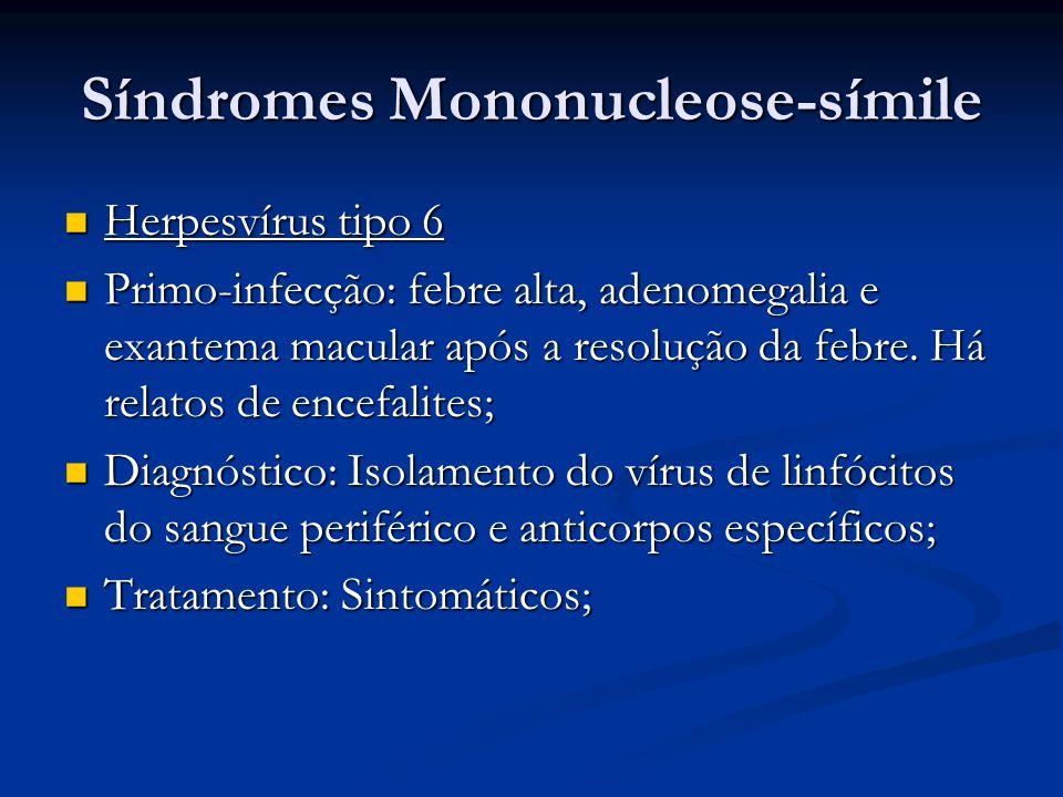 Síndromes Mononucleose-símile Herpesvírus tipo 6 Herpesvírus tipo 6 Primo-infecção: febre alta, adenomegalia e exantema macular após a resolução da febre.