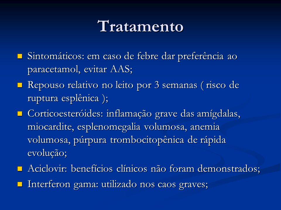 Tratamento Sintomáticos: em caso de febre dar preferência ao paracetamol, evitar AAS; Sintomáticos: em caso de febre dar preferência ao paracetamol, evitar AAS; Repouso relativo no leito por 3 semanas ( risco de ruptura esplênica ); Repouso relativo no leito por 3 semanas ( risco de ruptura esplênica ); Corticoesteróides: inflamação grave das amígdalas, miocardite, esplenomegalia volumosa, anemia volumosa, púrpura trombocitopênica de rápida evolução; Corticoesteróides: inflamação grave das amígdalas, miocardite, esplenomegalia volumosa, anemia volumosa, púrpura trombocitopênica de rápida evolução; Aciclovir: benefícios clínicos não foram demonstrados; Aciclovir: benefícios clínicos não foram demonstrados; Interferon gama: utilizado nos caos graves; Interferon gama: utilizado nos caos graves;
