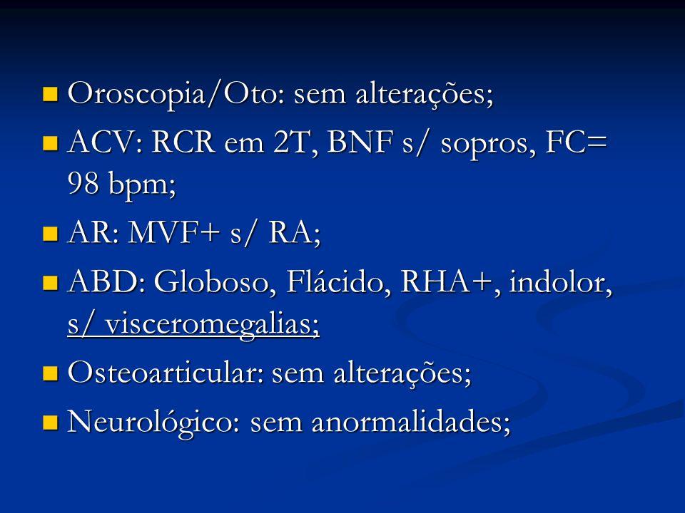 Oroscopia/Oto: sem alterações; Oroscopia/Oto: sem alterações; ACV: RCR em 2T, BNF s/ sopros, FC= 98 bpm; ACV: RCR em 2T, BNF s/ sopros, FC= 98 bpm; AR: MVF+ s/ RA; AR: MVF+ s/ RA; ABD: Globoso, Flácido, RHA+, indolor, s/ visceromegalias; ABD: Globoso, Flácido, RHA+, indolor, s/ visceromegalias; Osteoarticular: sem alterações; Osteoarticular: sem alterações; Neurológico: sem anormalidades; Neurológico: sem anormalidades;