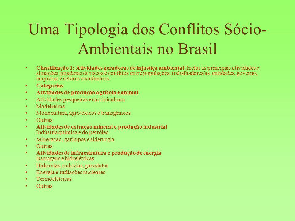 Uma Tipologia dos Conflitos Sócio- Ambientais no Brasil Classificação 1: Atividades geradoras de injustiça ambiental: Inclui as principais atividades