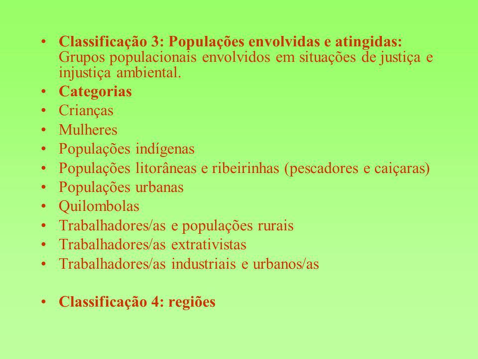 Classificação 3: Populações envolvidas e atingidas: Grupos populacionais envolvidos em situações de justiça e injustiça ambiental. Categorias Crianças