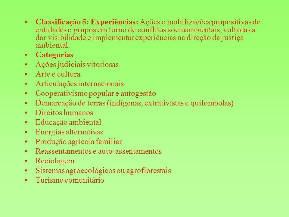 Classificação 5: Experiências: Ações e mobilizações propositivas de entidades e grupos em torno de conflitos socioambientais, voltadas a dar visibilid