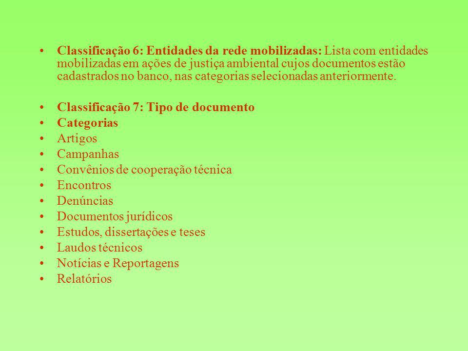 Classificação 6: Entidades da rede mobilizadas: Lista com entidades mobilizadas em ações de justiça ambiental cujos documentos estão cadastrados no ba