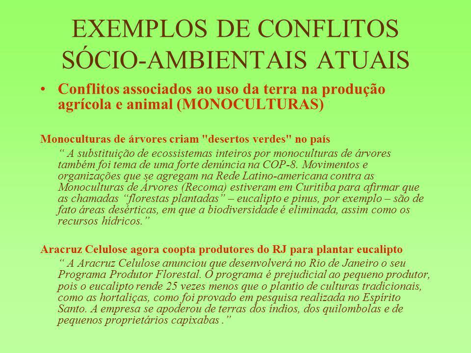 EXEMPLOS DE CONFLITOS SÓCIO-AMBIENTAIS ATUAIS Conflitos associados ao uso da terra na produção agrícola e animal (MONOCULTURAS) Monoculturas de árvore