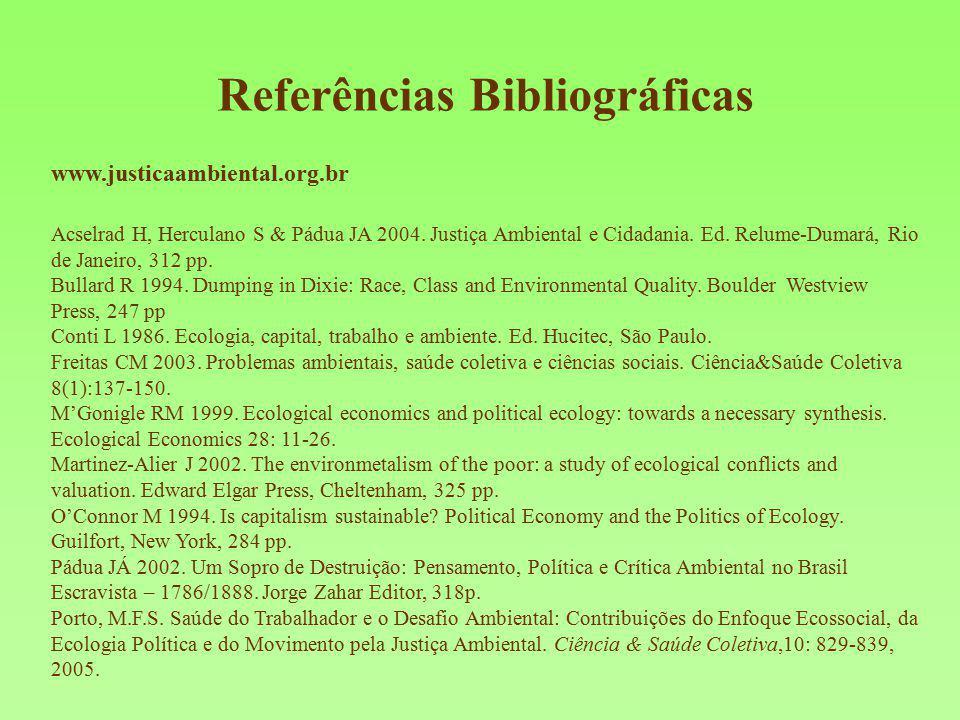 Referências Bibliográficas www.justicaambiental.org.br Acselrad H, Herculano S & Pádua JA 2004. Justiça Ambiental e Cidadania. Ed. Relume-Dumará, Rio