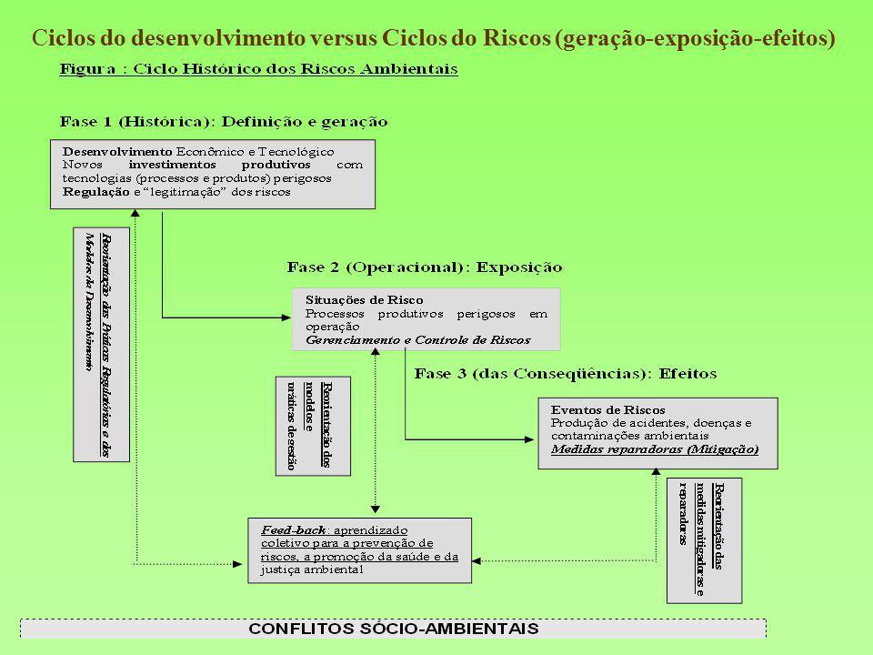 Ciclos do desenvolvimento versus Ciclos do Riscos (geração-exposição-efeitos)
