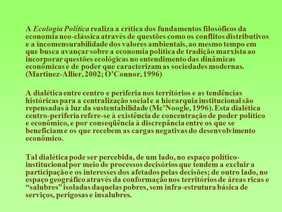 A Ecologia Política realiza a crítica dos fundamentos filosóficos da economia neo-clássica através de questões como os conflitos distributivos e a inc