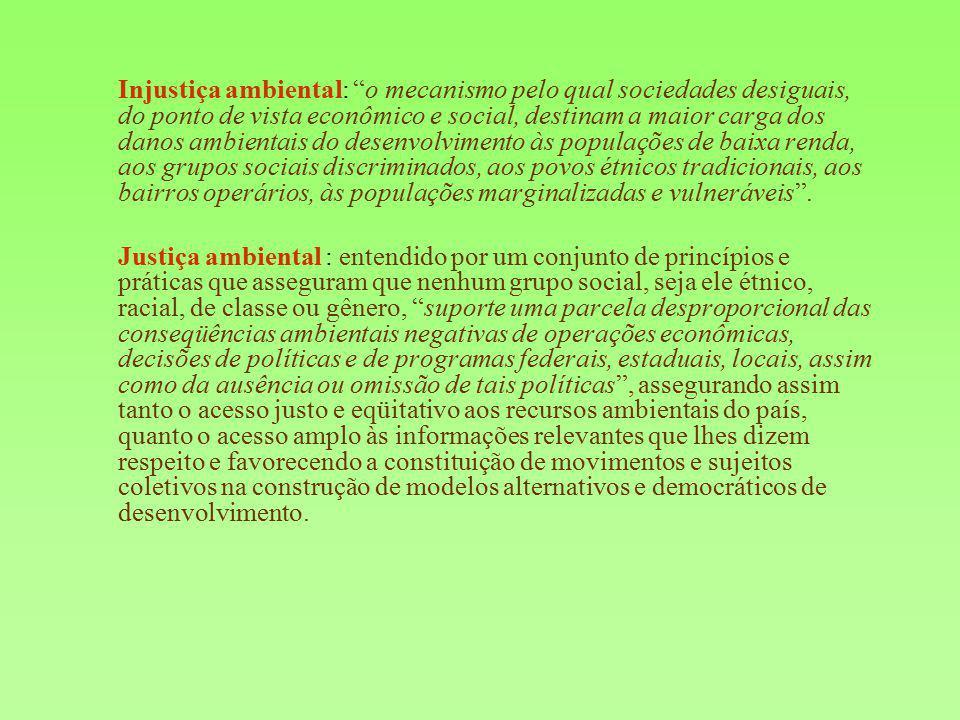 Objetivos da Rede Brasileira de Justiça Ambiental (RBJA): Promover o intercâmbio e troca de experiências, reflexões teóricas, análises de contexto e elaboração de estratégias de ação entre múltiplos atores de lutas ambientais, inclusive através de assessorias aos grupos atingidos por parte de profissionais da área ambiental, social e de saúde que atuam junto à Rede; Aproximar pesquisadores e ativistas sociais brasileiros, encorajando-os a formarem parcerias para o trabalho conjunto; Criar agendas nacionais e regionais de pesquisa e ação com vistas a enfrentar casos concretos de injustiça ambiental e elaborar propostas políticas e demandas endereçadas ao poder público; Articular o campo dos direitos humanos com conflitos sócio- ambientais decorrentes dos novos ciclos de investimento econômico e apropriação privada dos recursos naturais que produzem exclusão e expropriação.
