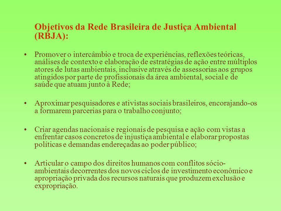 Objetivos da Rede Brasileira de Justiça Ambiental (RBJA): Promover o intercâmbio e troca de experiências, reflexões teóricas, análises de contexto e e