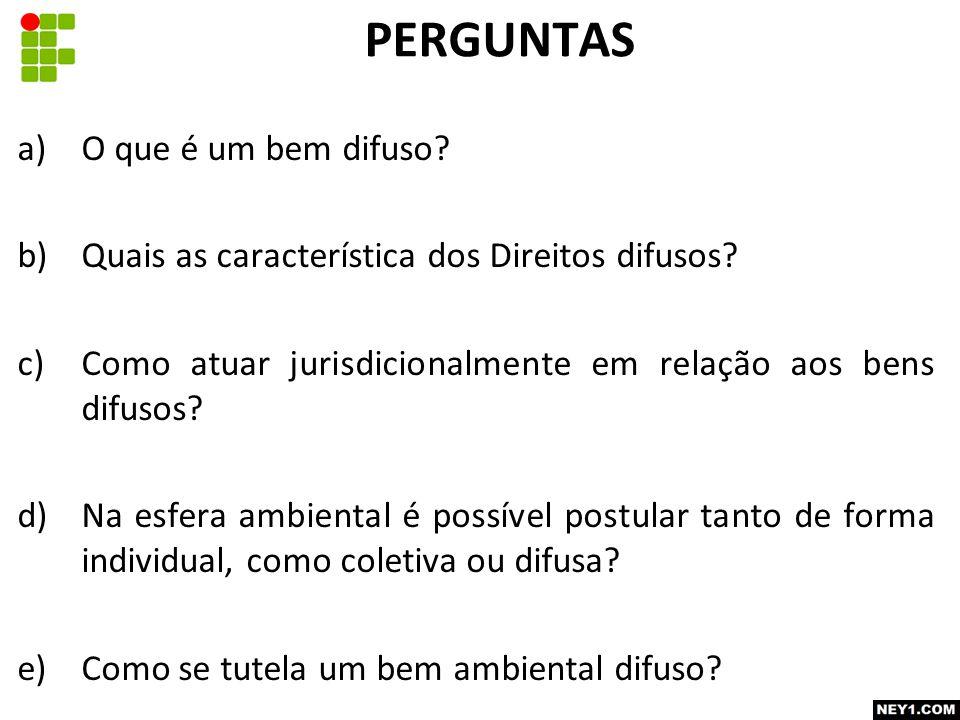 a)O que é um bem difuso.b)Quais as característica dos Direitos difusos.