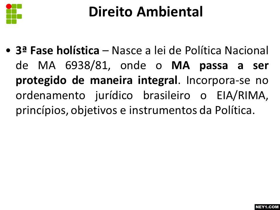 3ª Fase holística – Nasce a lei de Política Nacional de MA 6938/81, onde o MA passa a ser protegido de maneira integral.