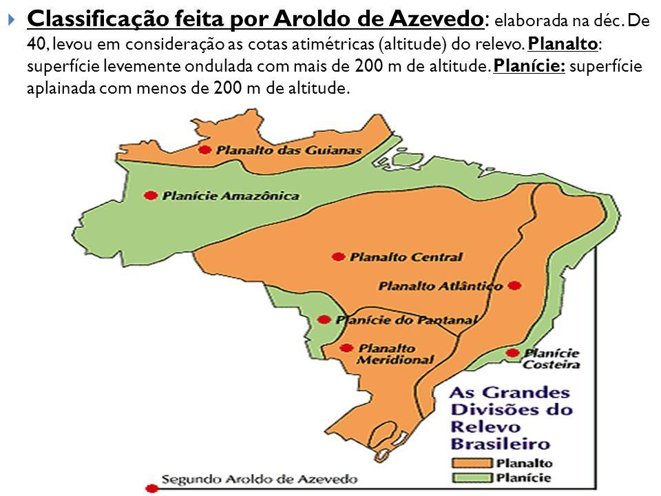  Classificação feita por Aroldo de Azevedo: elaborada na déc. De 40, levou em consideração as cotas atimétricas (altitude) do relevo. Planalto: super