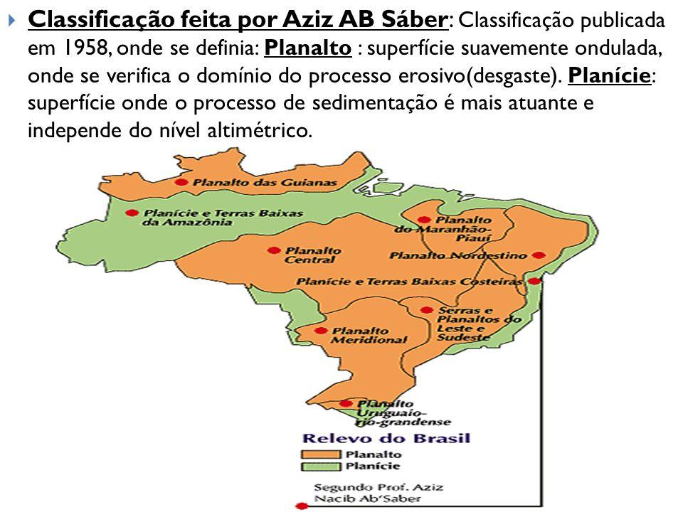  Classificação feita por Aziz AB Sáber: Classificação publicada em 1958, onde se definia: Planalto : superfície suavemente ondulada, onde se verifica
