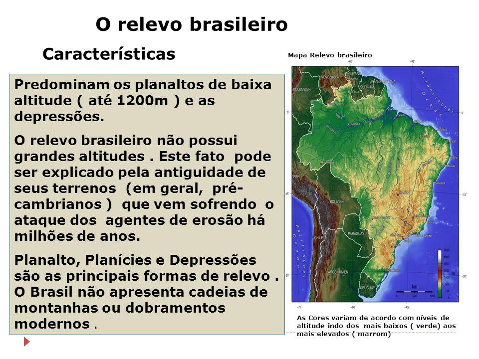 Mapa Relevo brasileiro O relevo brasileiro Características Predominam os planaltos de baixa altitude ( até 1200m ) e as depressões. O relevo brasileir