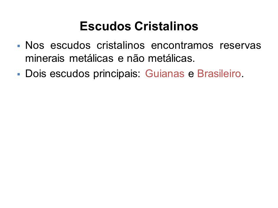 Escudos Cristalinos  Nos escudos cristalinos encontramos reservas minerais metálicas e não metálicas.  Dois escudos principais: Guianas e Brasileiro