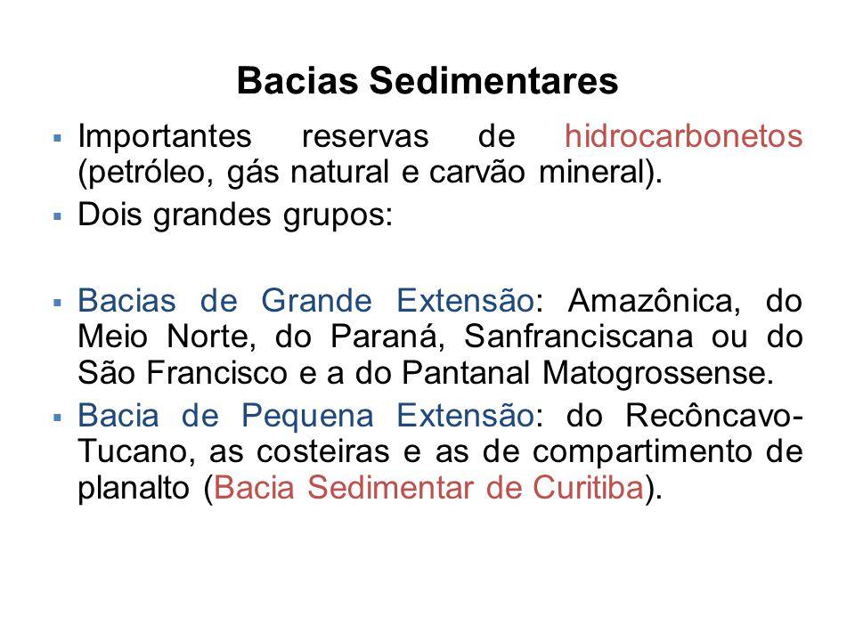 Bacias Sedimentares  Importantes reservas de hidrocarbonetos (petróleo, gás natural e carvão mineral).  Dois grandes grupos:  Bacias de Grande Exte