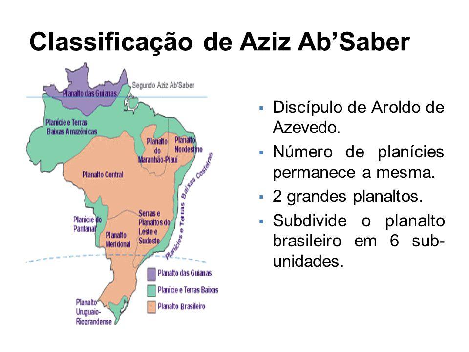 Classificação de Aziz Ab'Saber  Discípulo de Aroldo de Azevedo.  Número de planícies permanece a mesma.  2 grandes planaltos.  Subdivide o planalt