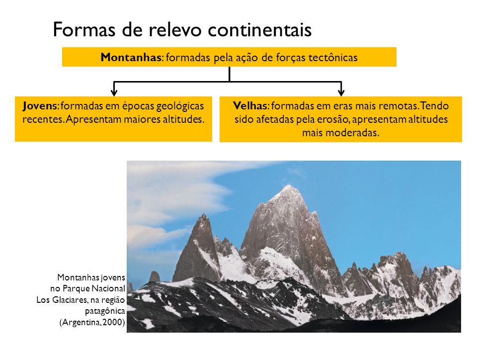 Formas de relevo continentais Montanhas: formadas pela ação de forças tectônicas Jovens: formadas em épocas geológicas recentes. Apresentam maiores al
