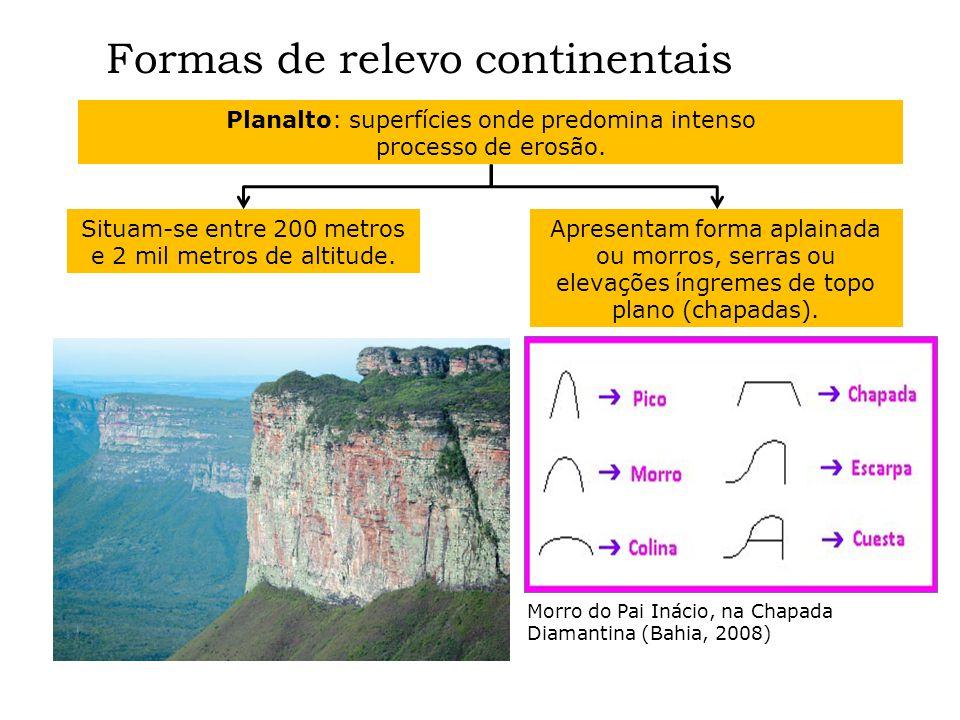 Formas de relevo continentais Planalto: superfícies onde predomina intenso processo de erosão. Situam-se entre 200 metros e 2 mil metros de altitude.