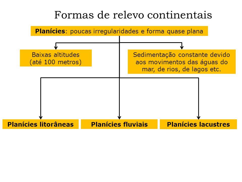 Formas de relevo continentais Planícies: poucas irregularidades e forma quase plana Baixas altitudes (até 100 metros) Sedimentação constante devido ao