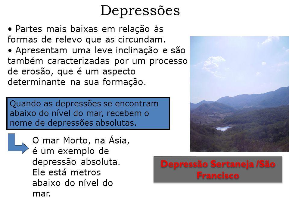 Depressões Quando as depressões se encontram abaixo do nível do mar, recebem o nome de depressões absolutas. Partes mais baixas em relação às formas d