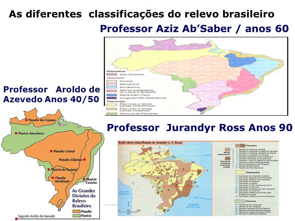 As diferentes classificações do relevo brasileiro Professor Jurandyr Ross Anos 90 Professor Aroldo de Azevedo Anos 40/50 Professor Aziz Ab'Saber / anos 60