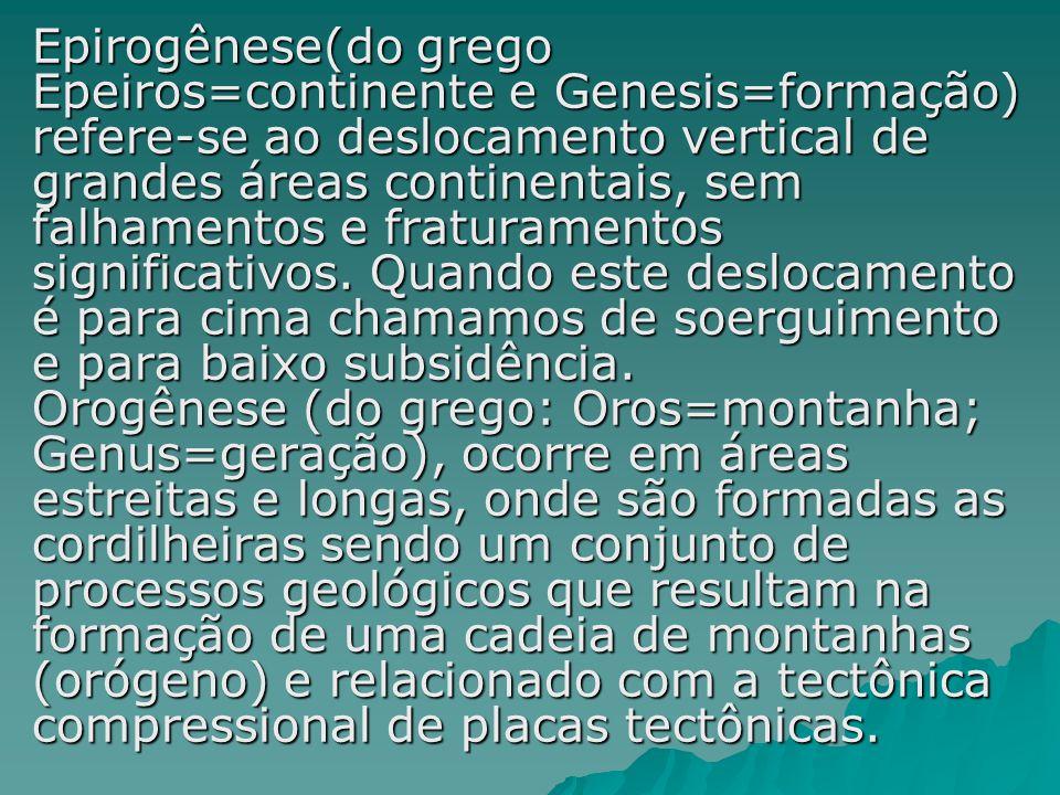 Epirogênese(do grego Epeiros=continente e Genesis=formação) refere-se ao deslocamento vertical de grandes áreas continentais, sem falhamentos e fratur