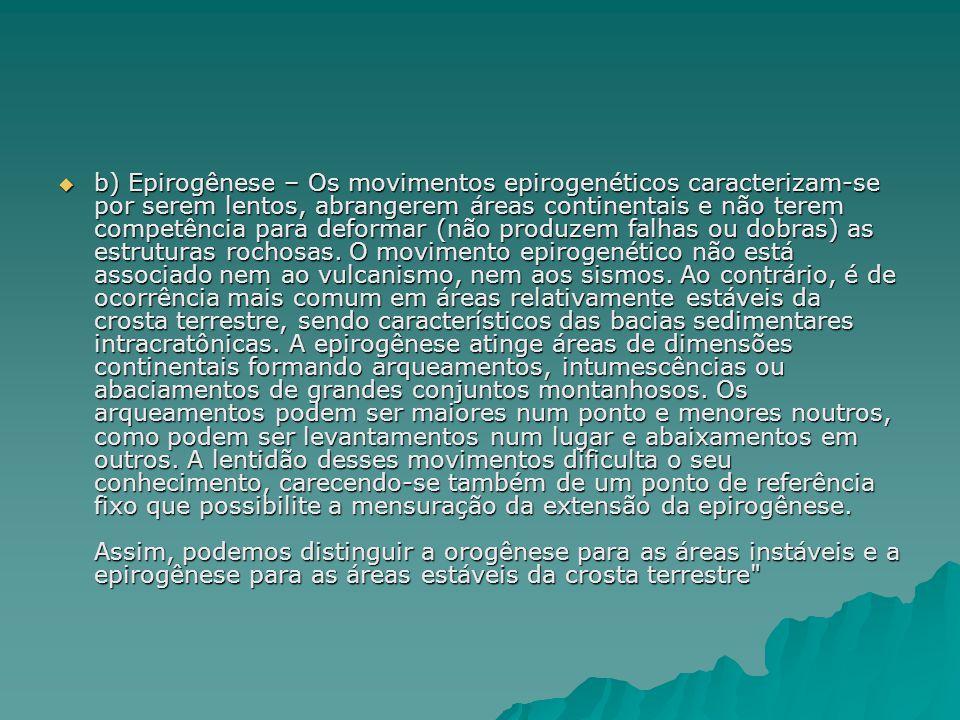  b) Epirogênese – Os movimentos epirogenéticos caracterizam-se por serem lentos, abrangerem áreas continentais e não terem competência para deformar