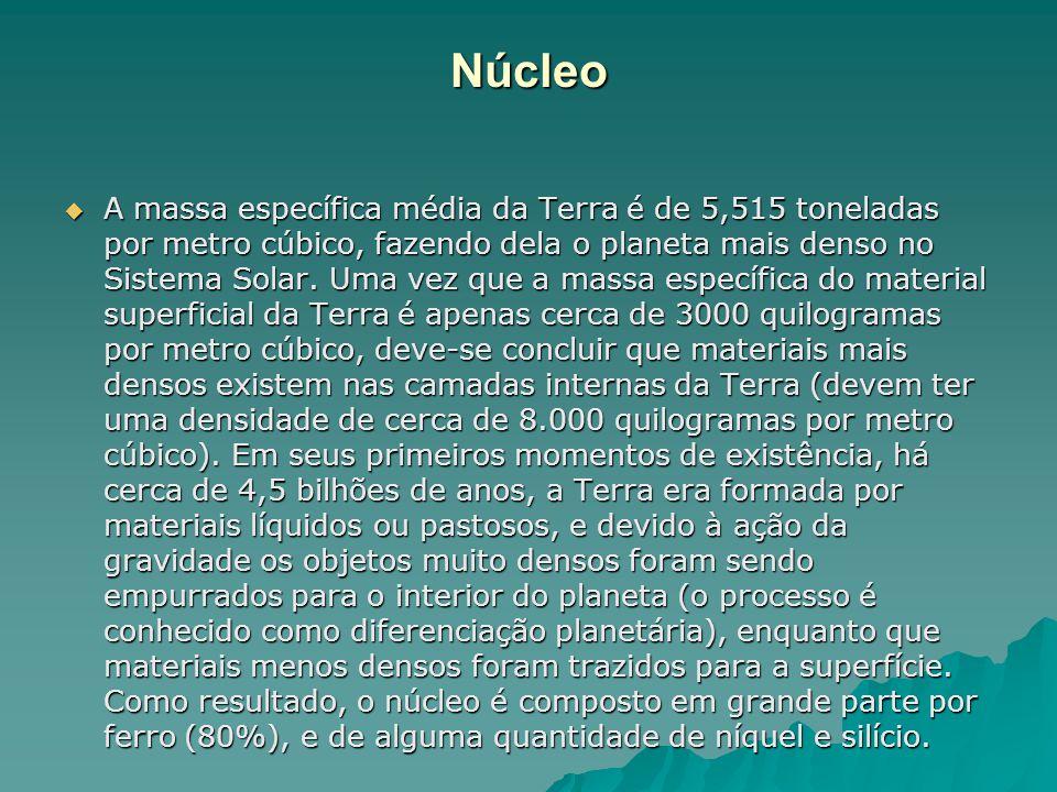 Núcleo  A massa específica média da Terra é de 5,515 toneladas por metro cúbico, fazendo dela o planeta mais denso no Sistema Solar. Uma vez que a ma