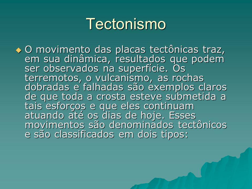 Tectonismo  O movimento das placas tectônicas traz, em sua dinâmica, resultados que podem ser observados na superfície. Os terremotos, o vulcanismo,